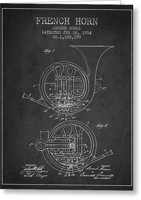 Horns Digital Art Greeting Cards - French Horn Patent from 1914 - Dark Greeting Card by Aged Pixel