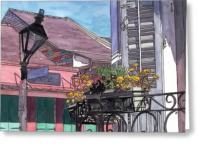 French Doors Greeting Cards - French Quarter Porch Greeting Card by John Boles