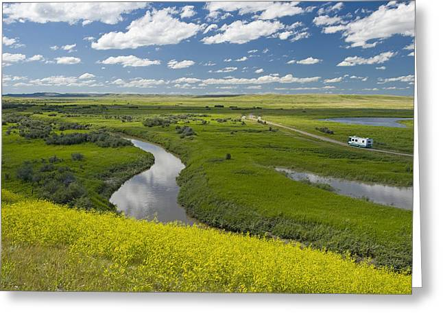 Roadway Greeting Cards - Frenchman River In West Block Of Greeting Card by Dave Reede