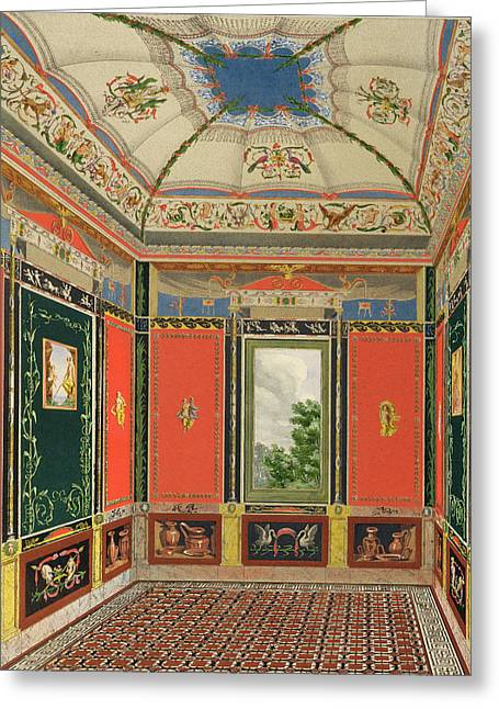 Interior Drawings Greeting Cards - Fresco Decoration In The Summer House Greeting Card by English School