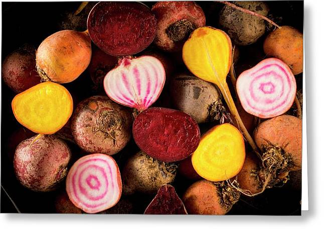 Fresh Beetroot And Red Onions Greeting Card by Aberration Films Ltd