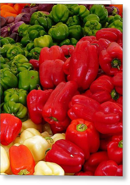 Green Beans Greeting Cards - Fresh Colorful Bell Peppers Greeting Card by Jeff Lowe
