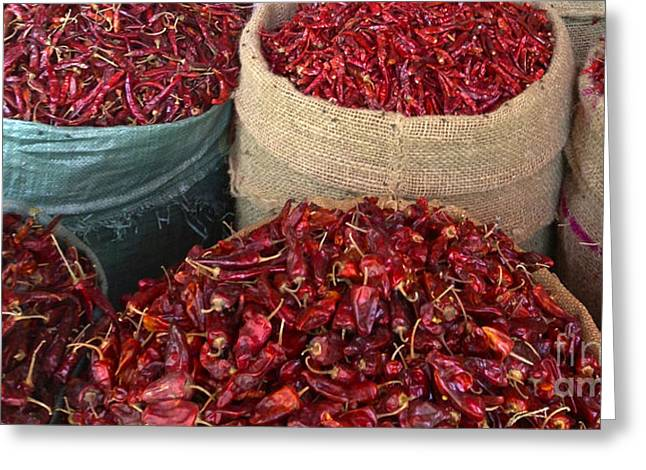 Copyright Protected. Greeting Cards - Fresh Dried Chilli on Display for Sale Zay Cho Street Market 27th Street Mandalay Burma Greeting Card by Ralph A  Ledergerber-Photography