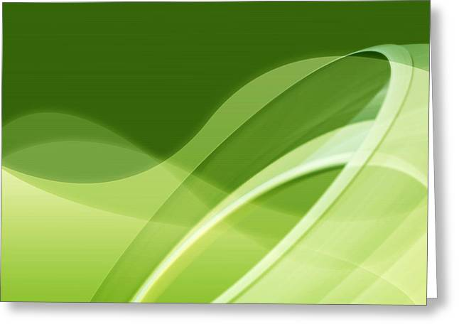 Geometric Effect Greeting Cards - Fresh Green Abstract Greeting Card by GP Images