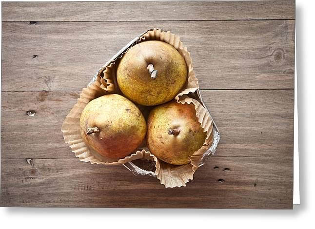 Bartlett Greeting Cards - Fresh pears Greeting Card by Tom Gowanlock