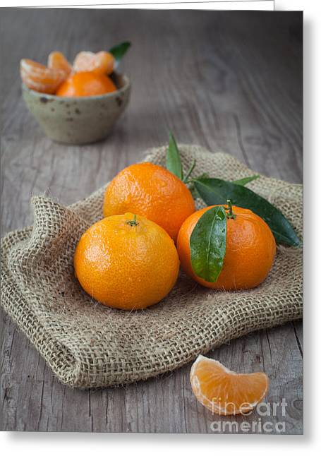 Tangerine Greeting Cards - Fresh Tangerine Greeting Card by Sabino Parente