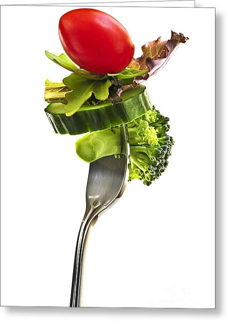 Broccoli Photographs Greeting Cards - Fresh vegetables on a fork Greeting Card by Elena Elisseeva