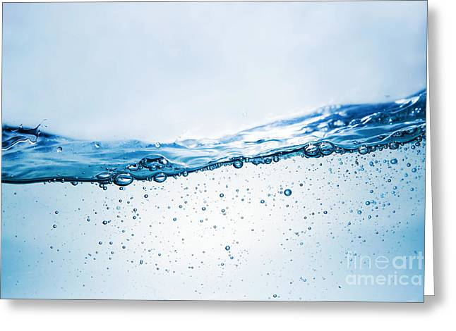 Pouring Greeting Cards - Fresh water wave with bubbles Greeting Card by Michal Bednarek