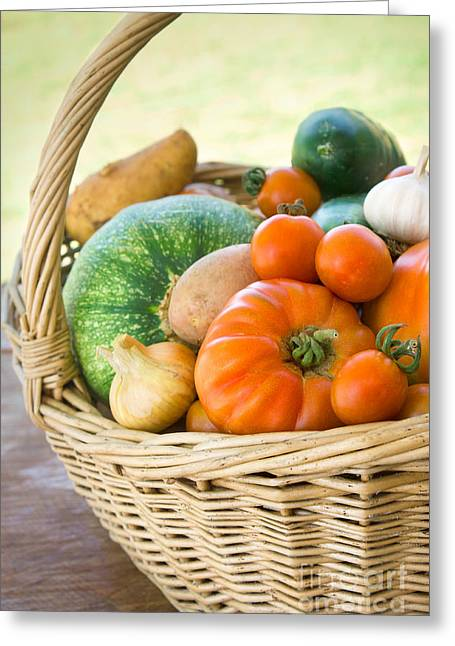 Scissors Greeting Cards - Freshly harvested vegetables Greeting Card by Mythja  Photography
