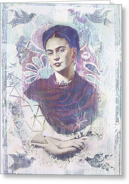 Twentieth Century Digital Greeting Cards - Frida Greeting Card by Elena Nosyreva