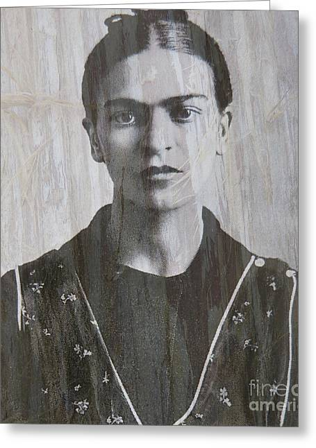 Famous Artist Mixed Media Greeting Cards - Frida in 1932 Greeting Card by Patricia Januszkiewicz