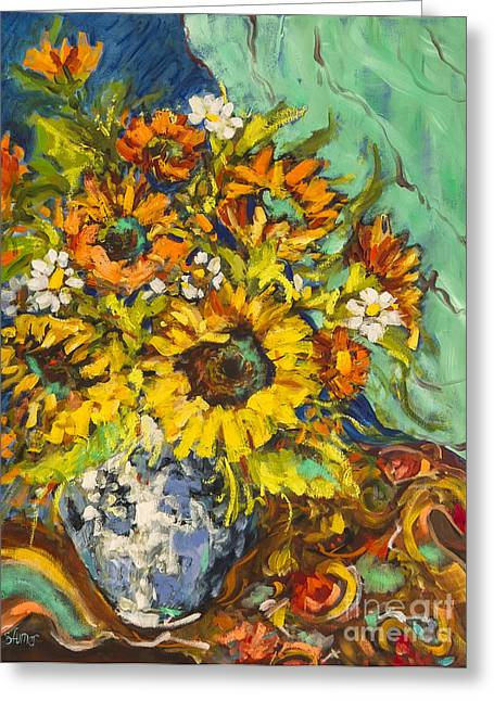 Paisley Blue Fabric Greeting Cards - Fridays Sunflowers  Greeting Card by Sharon Furner