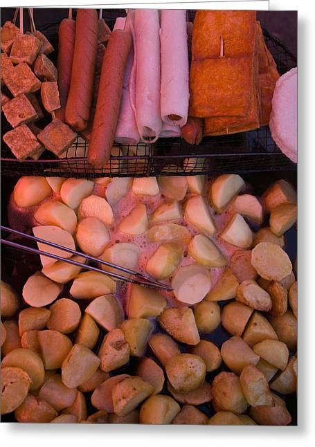Fried Potatoes And Snacks On The Grill Greeting Card by Panoramic Images