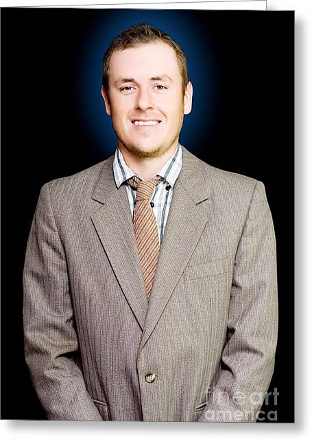 Easy Going Greeting Cards - Friendly and cheerful young business man smiling Greeting Card by Ryan Jorgensen