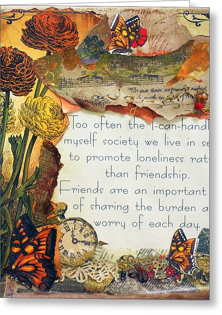 Important Mixed Media Greeting Cards - Friends Are Important Greeting Card by Jennifer Steffen