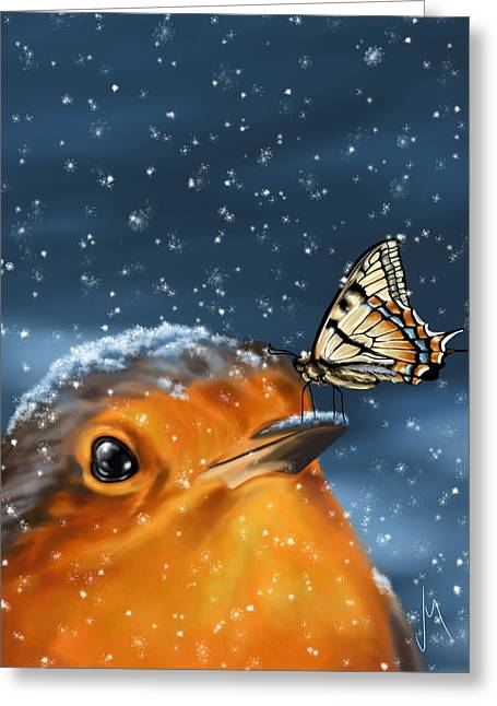 Cute Bird Greeting Cards - Friends Greeting Card by Veronica Minozzi