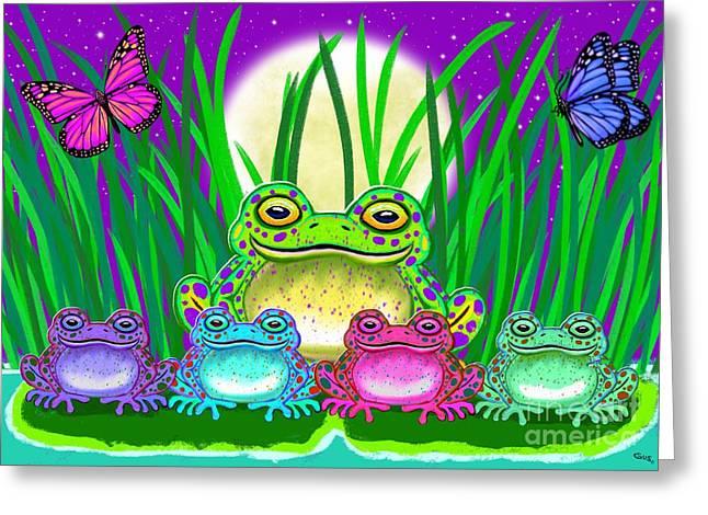 Amphibians Digital Art Greeting Cards - Frog Family Greeting Card by Nick Gustafson