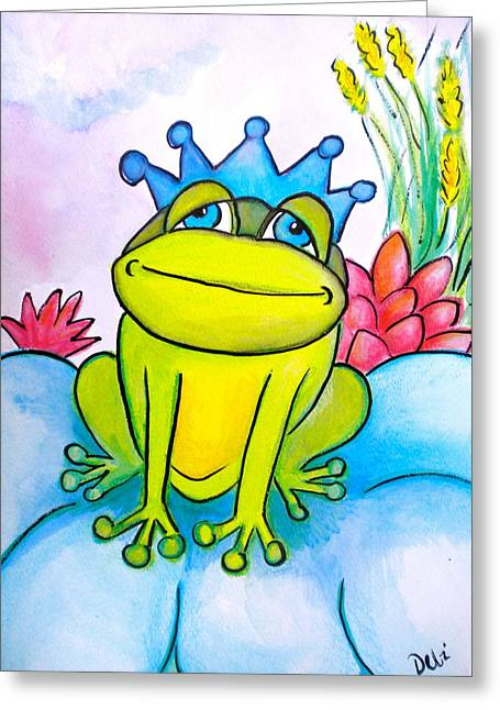 Bubbly Drawings Greeting Cards - Frog Prince Greeting Card by Debi Starr