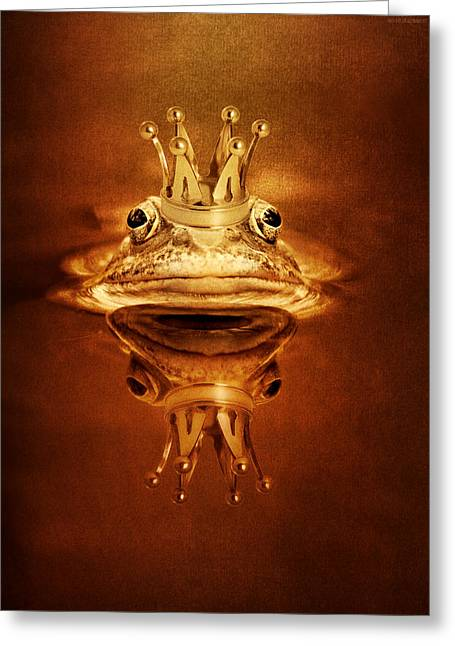Amphibian Mixed Media Greeting Cards - Frog Prince Greeting Card by Heike Hultsch