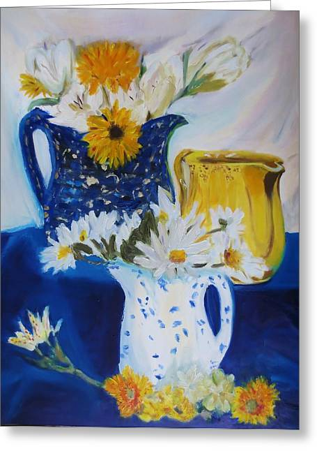 Pottery Pitcher Greeting Cards - From My Pitcher Collection Greeting Card by Cindy Lawson-Kester