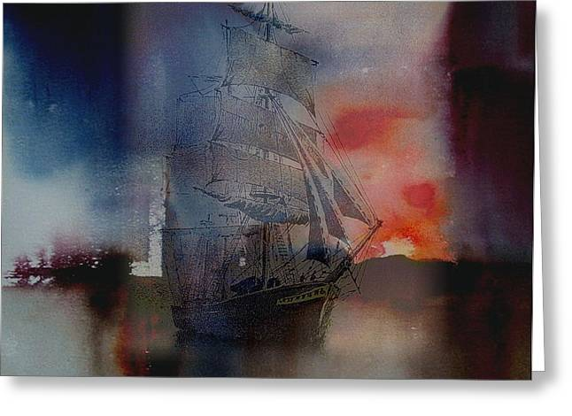Tall Ships Mixed Media Greeting Cards - From out of the sunset Greeting Card by Val Byrne