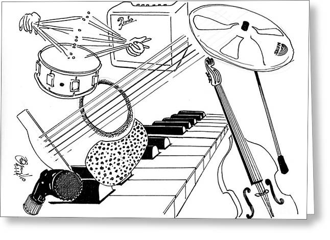 Microphone Stand Greeting Cards - From The Top Greeting Card by Andooga Design