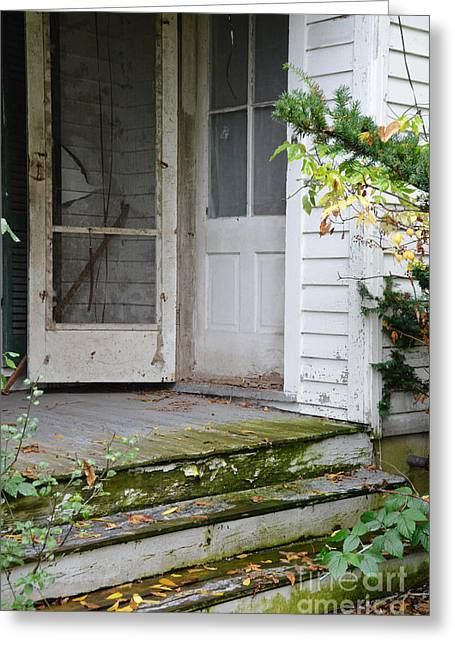 Screen Doors Greeting Cards - Front Door of Abandoned House Greeting Card by Jill Battaglia