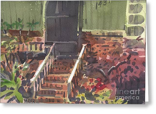 Entrance Door Greeting Cards - Front Steps Greeting Card by Donald Maier