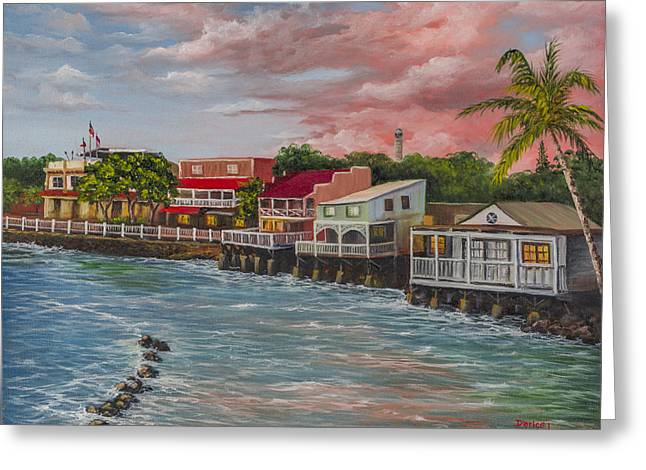 Recently Sold -  - Lahaina Greeting Cards - Front Street Lahaina Greeting Card by Darice Machel McGuire