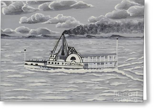 Finger Lakes Paintings Greeting Cards - Frontenac Boat on Cayuga Lake NY Greeting Card by Carolyn Freligh