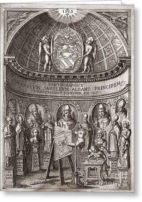 Copying Greeting Cards - Frontispiece Of Pantagraphice Greeting Card by Middle Temple Library