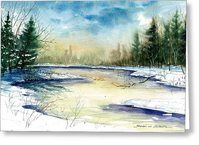 Award Winning Art Greeting Cards - Frozen Creek Greeting Card by Steven Schultz
