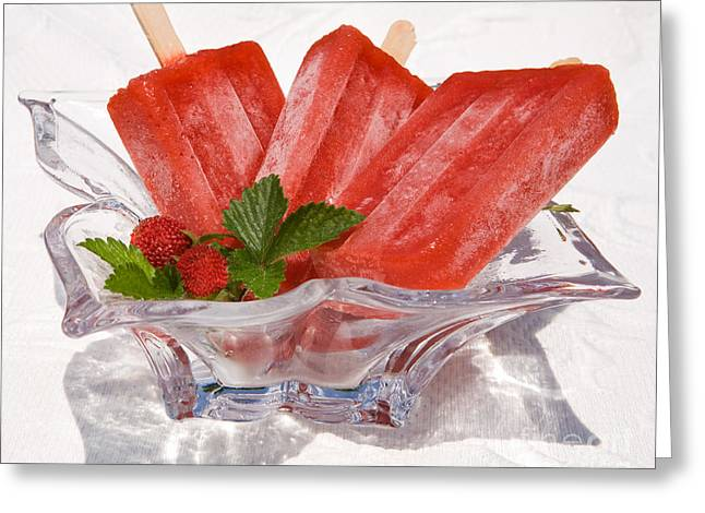 Owner Greeting Cards - Frozen Fruit Juice Popsicles Greeting Card by Iris Richardson
