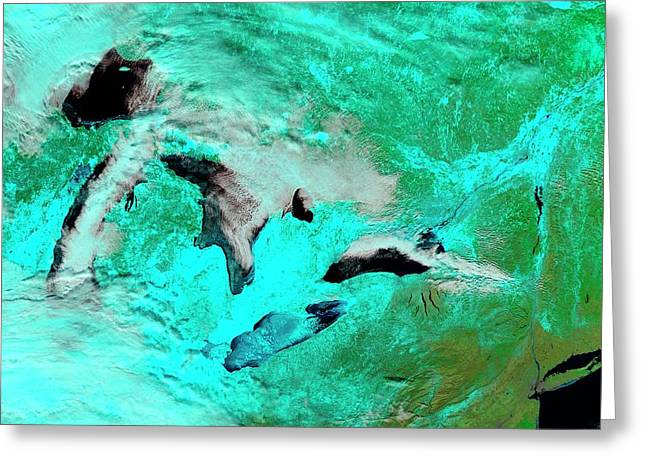 Frozen Great Lakes Greeting Card by Nasa Earth Observatory