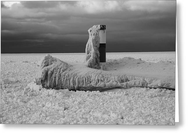 Snowstorm Greeting Cards - Frozen Lighthouse In Michigan Greeting Card by Dan Sproul