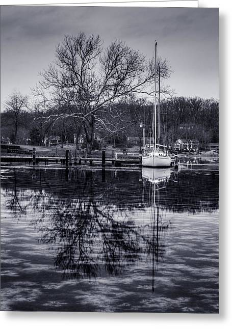 Duo Tone Photographs Greeting Cards - Frozen Sailboat and Cloudy Ice Greeting Card by Dennis Dame
