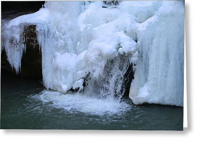 Temperature Greeting Cards - Frozen Waterfall In Winter Greeting Card by Dan Sproul