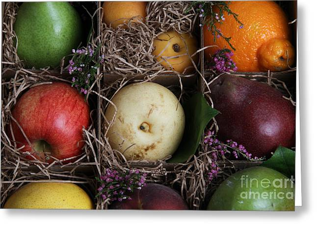Mango Greeting Cards - Fruit Basket Greeting Card by Photo Researchers, Inc.