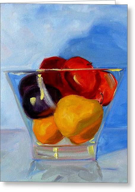 Glass Bowls Greeting Cards - Fruit Bowl Greeting Card by Nancy Merkle