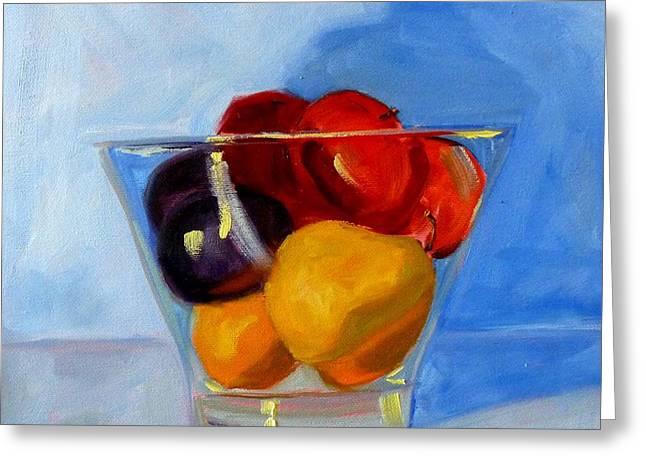 Apple Paintings Greeting Cards - Fruit Bowl Greeting Card by Nancy Merkle