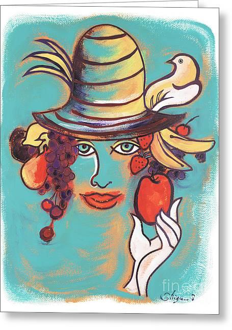 Menu Greeting Cards - Fruit lady Greeting Card by Gem J Shimada