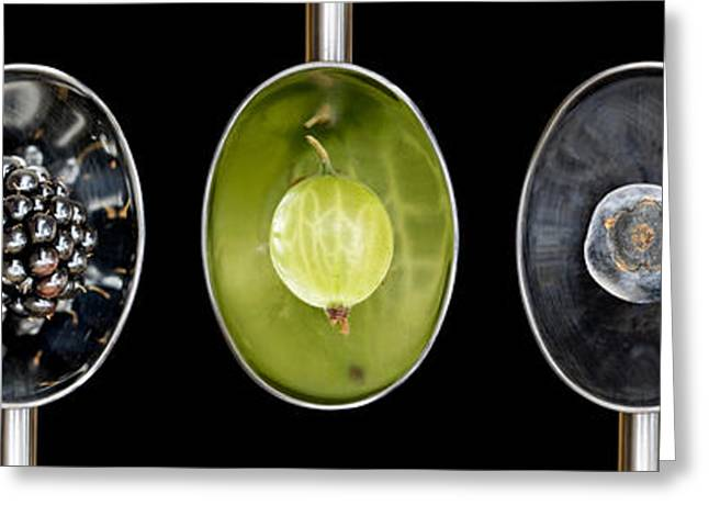 Fruit Spoons On Black Greeting Card by Tim Gainey