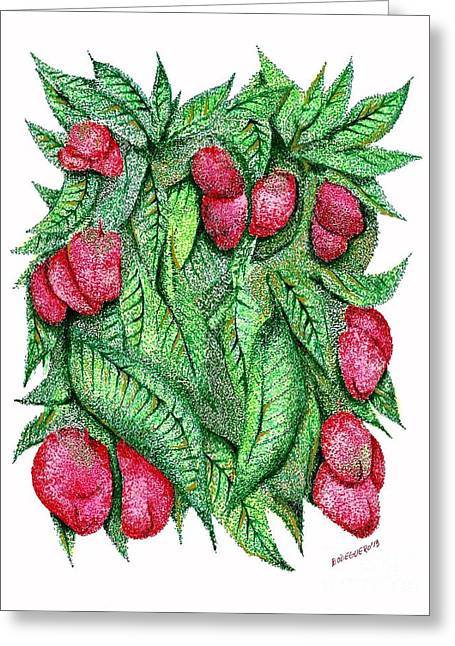 Fruits And Green Leafs Pen And Ink Drawing Greeting Card by Mario Perez