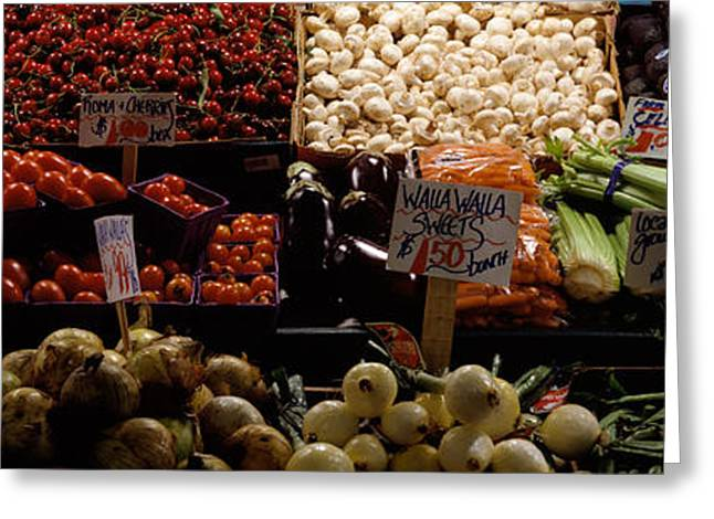 Number Of Objects Greeting Cards - Fruits And Vegetables At A Market Greeting Card by Panoramic Images