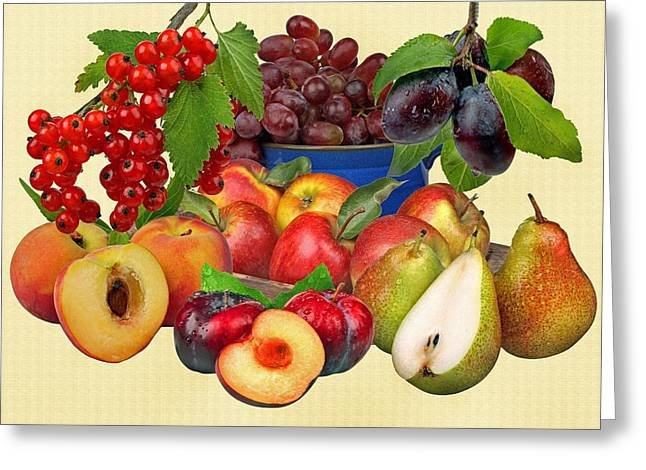 Vine Leaves Greeting Cards - Fruits Greeting Card by Manfred Lutzius