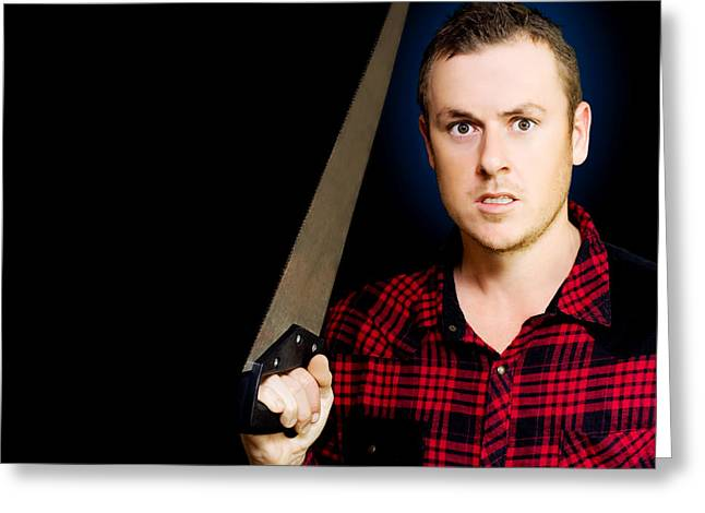 Plaid Shirt Greeting Cards - Frustrated angry man brandishing a saw Greeting Card by Ryan Jorgensen