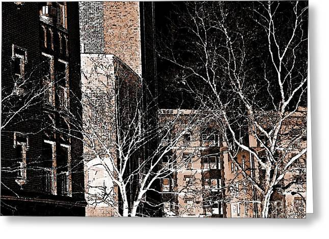 Washington Heights Greeting Cards - Ft Washington Ave in Sepia Greeting Card by Sarah Loft
