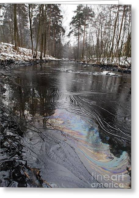 Oil Slick Greeting Cards - Fuel Oil Spill In A River Greeting Card by RIA Novosti