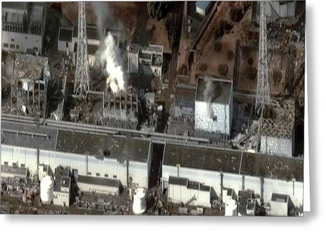 Fukushima Nuclear Power Plant Greeting Card by Digital Globe