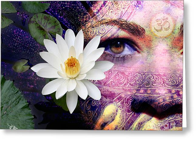 Lotus Flowers Greeting Cards - Full Moon Lakshmi Greeting Card by Christopher Beikmann